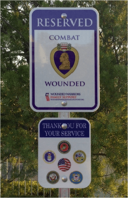Combat Wounded Parking Sign