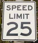 25 Miles Per Hour Speed Limit Sign