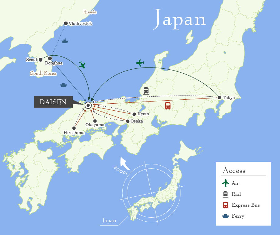 Map of Japan Showing Location of Daisen