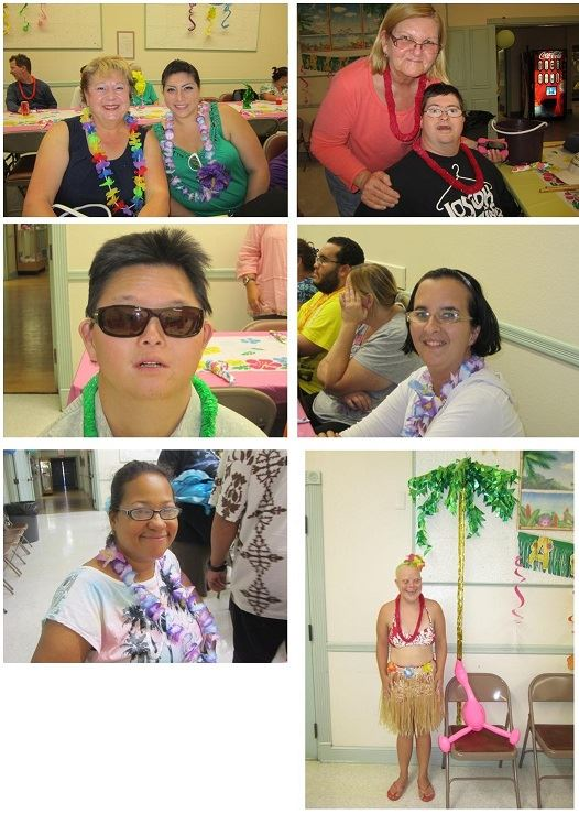 A collage of pictures, including people in leis and a person in a grass skirt